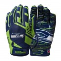Wilson NFL Stretch Fit Youth Receivers Gloves - Seattle Seahawks