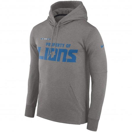 Detroit Lions Nike Sideline Property Of Performance Pullover Hoodie - Grey