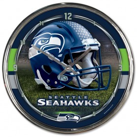 brand new 56c9a 9d9e1 Seattle Seahawks Chrome Clock