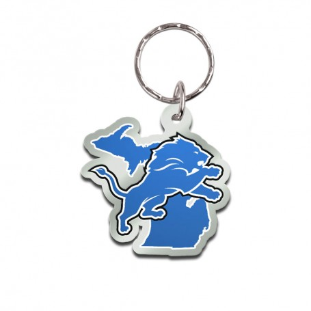 Detroit Lions State Keychain