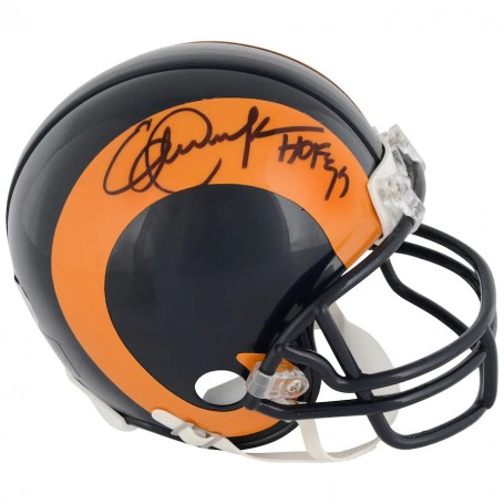 """Eric Dickerson Los Angeles Rams Throwback Autographed Riddell Mini Helmet with """"HOF 99"""" Inscription"""
